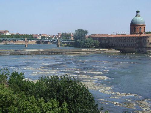 Dique del Bazacle, rio Garona, Toulouse